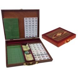 Mahjong complet boite bois marqueté