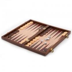 Backgammon bois 38 cm façon loupe d'orme. pliable