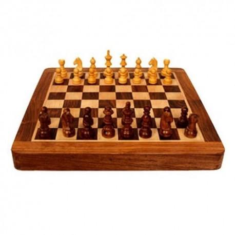 Coffret patiné. échecs magnétique 17 cm